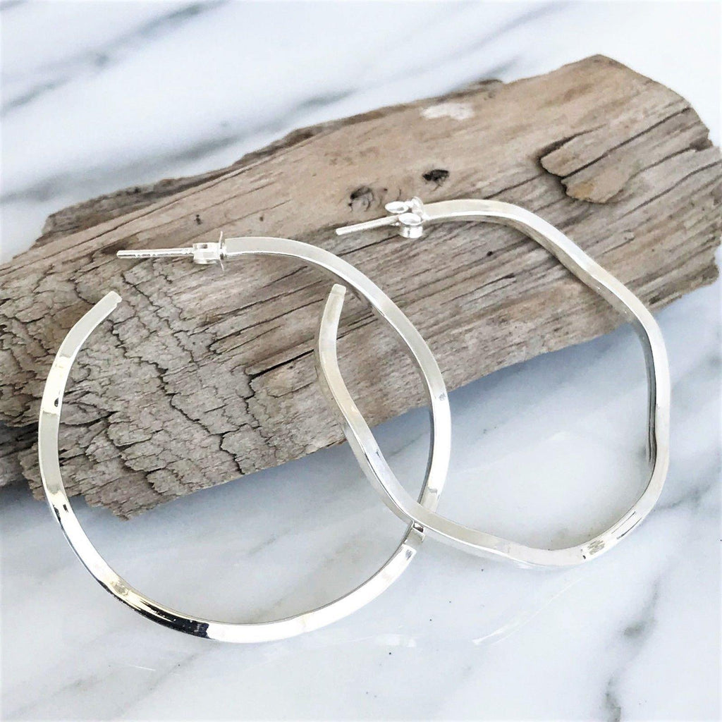 Genuine Sterling Silver 925 Big Modern Wavy Look 4cm Diameter Hoop Earrings