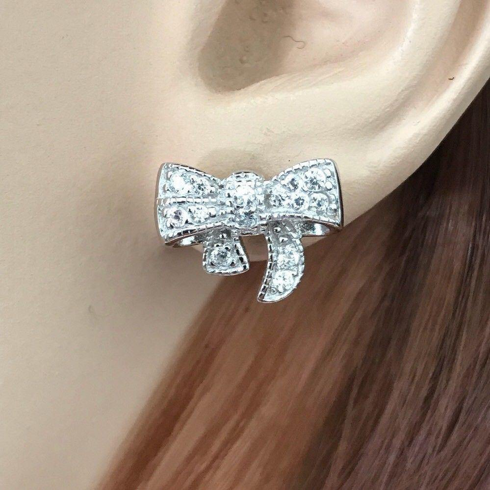 Sterling Silver 925 Vintage Inspired CZ Bow Ribbon Stud Post Earrings