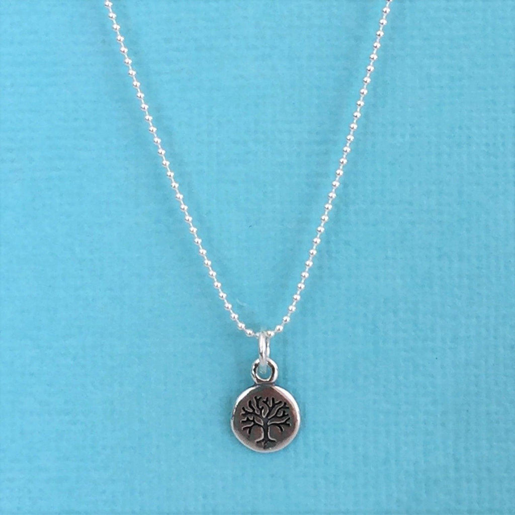 Genuine Sterling Silver Small 7mm Round 35cm Ball Chain Tree of Life Necklace