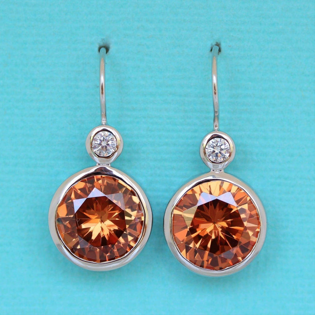 Sterling Silver Big 14mm Round Cognac Champagne CZ Bezel Set Hook Drop Earrings
