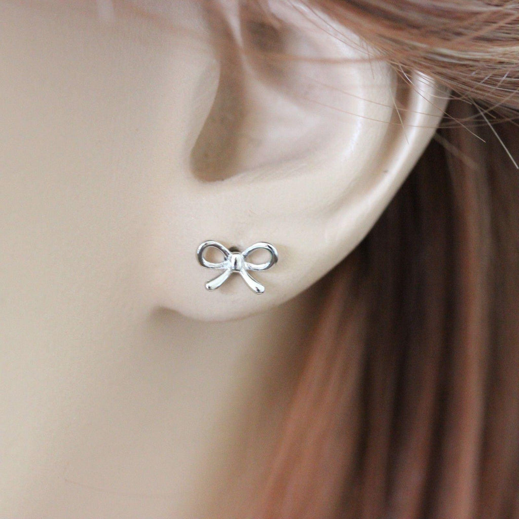 Genuine Sterling Silver 925 Small Bow Ribbon Stud Earrings