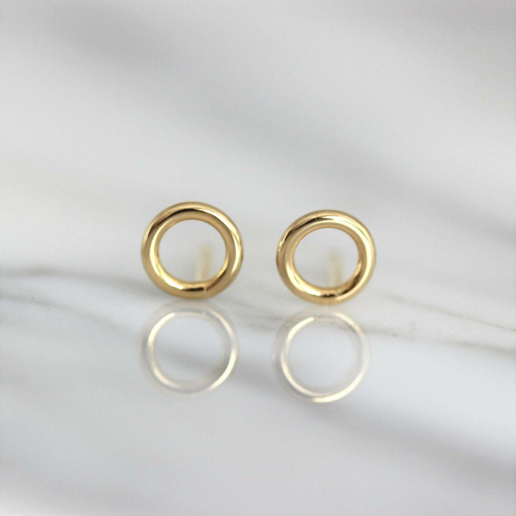 "Sterling Silver 925 Yellow Gold Plated 7mm Cut Out Circle ""O"" Stud Earrings"