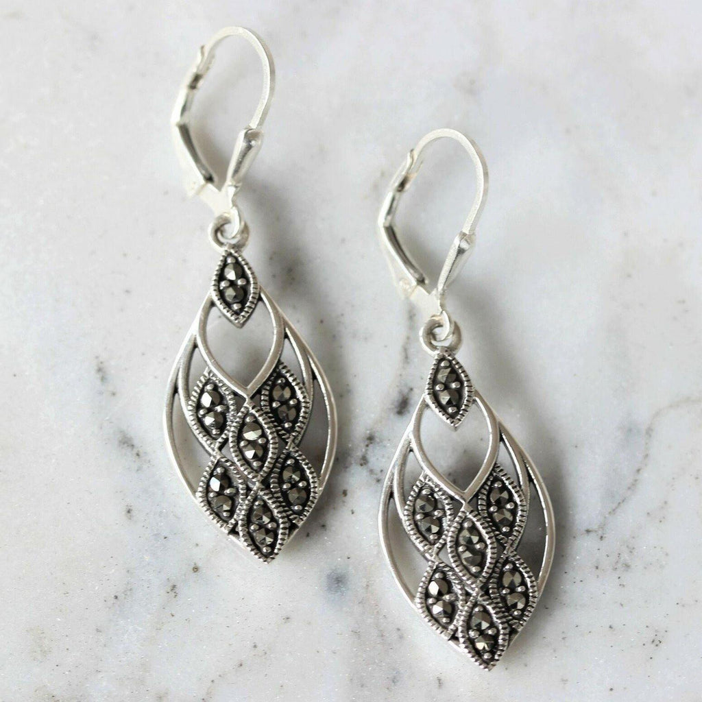 Genuine Sterling Silver 925 Marcasite Vintage Inspired Leverback Drop Earrings