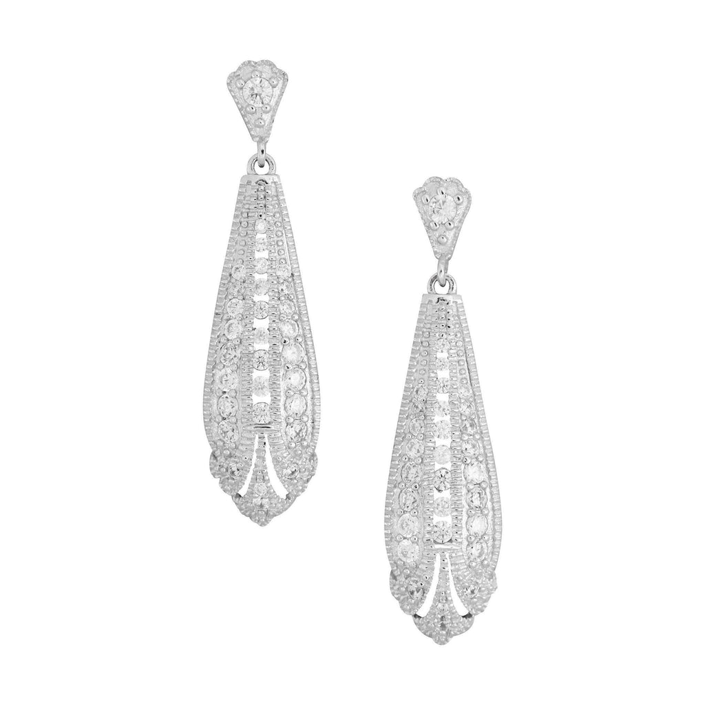 GIGI DESIGNS Sterling Silver Art Deco Inspired CZ Bridal Wedding Drop Earrings