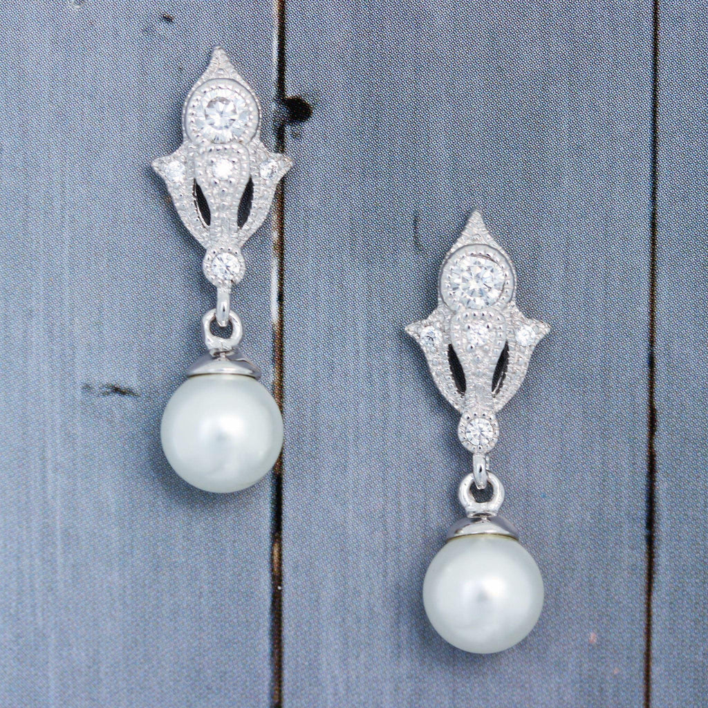 Sterling Silver Art Deco Style Bridal Wedding Pearl & CZ Drop Earrings