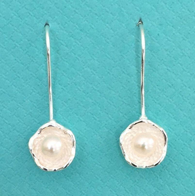 Genuine Sterling Silver 925 Fresh Water Pearl Flower Hook Drop Earrings