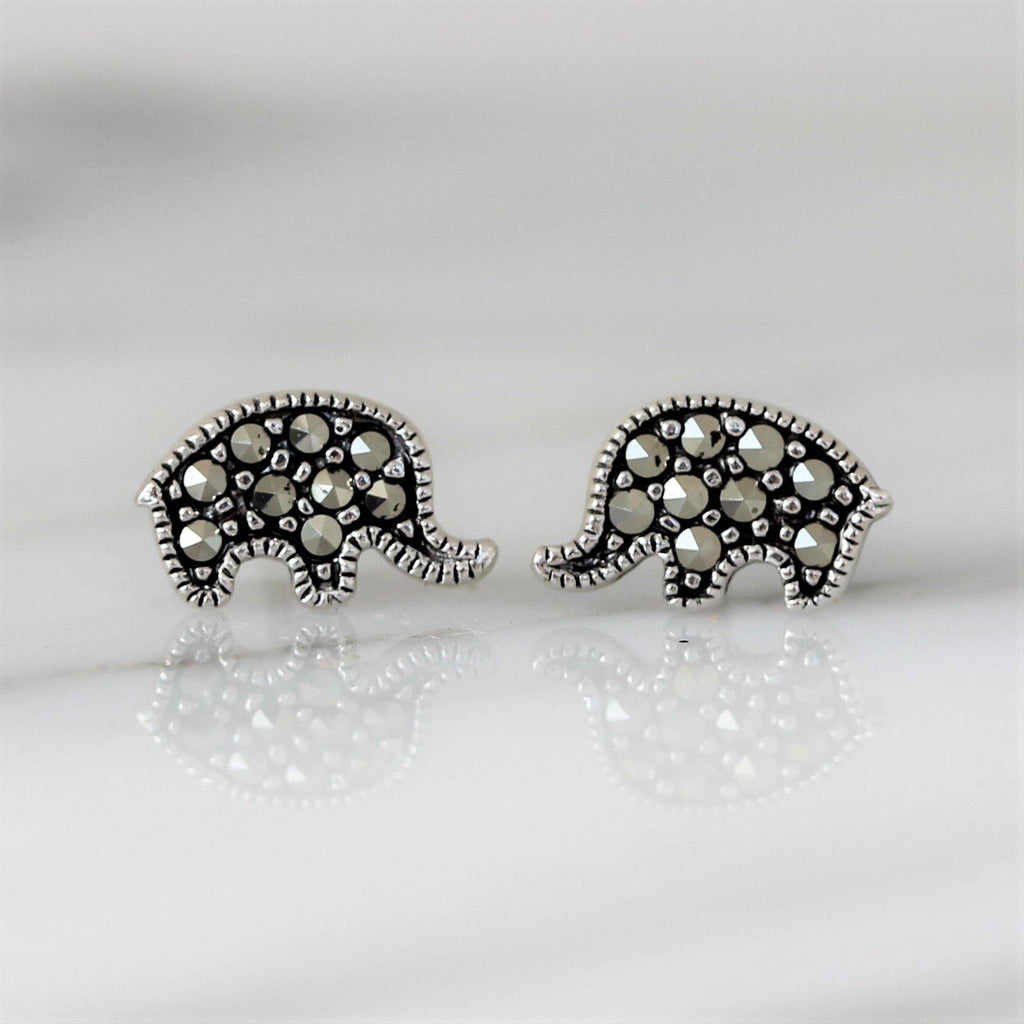 Sterling Silver 925 Marcasite Elephant Earrings Studs Vintage Style