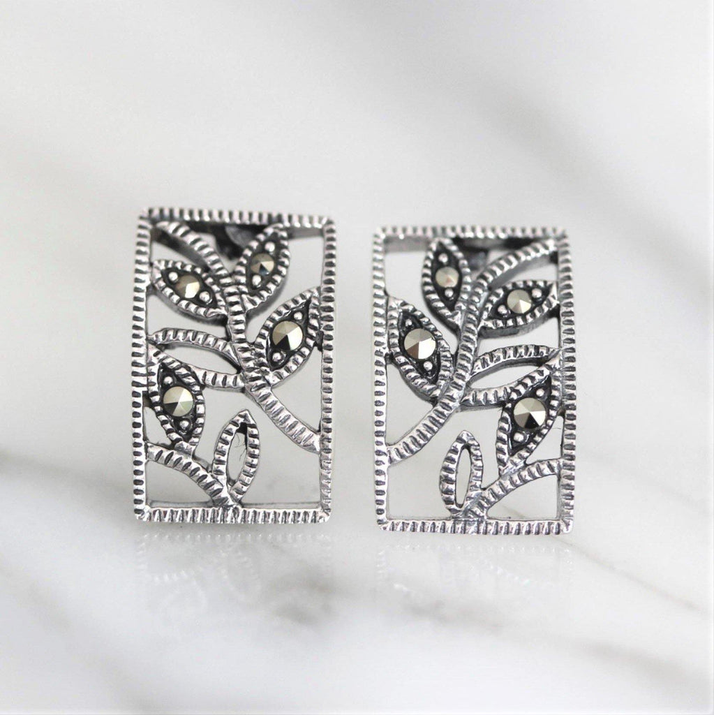 Sterling Silver 925 Marcasite Vintage Style Leaf Leaves Rectangle Stud Earrings