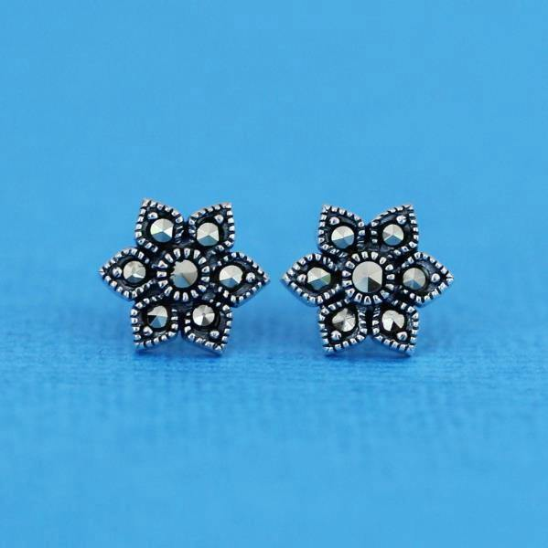 Genuine Sterling Silver 925 Marcasite Vintage Style 11mm Flower Stud Earrings