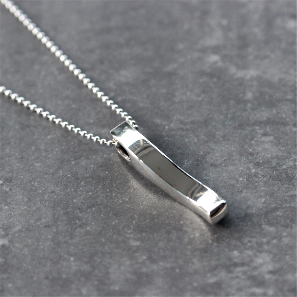 Genuine Sterling Silver 925 Modern Swirl Bar Pendant & 45cm Ball Chain Necklace