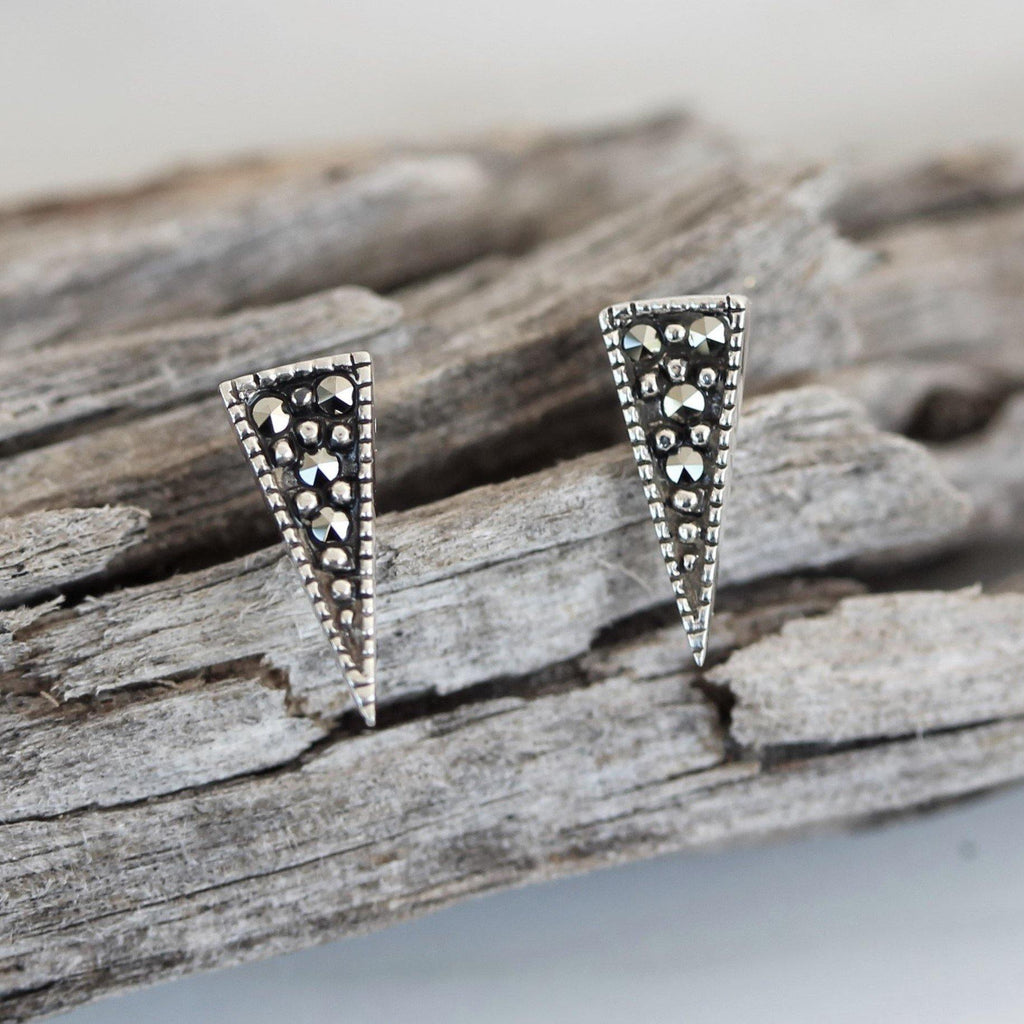 Genuine Sterling Silver 925 Marcasite Pointy Triangle Stud Earrings