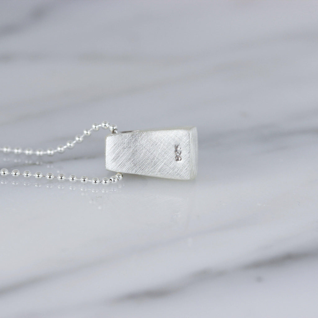 Genuine Sterling Silver Trapeziod Slider Textured Pendant & Italian Ball Chain Necklace