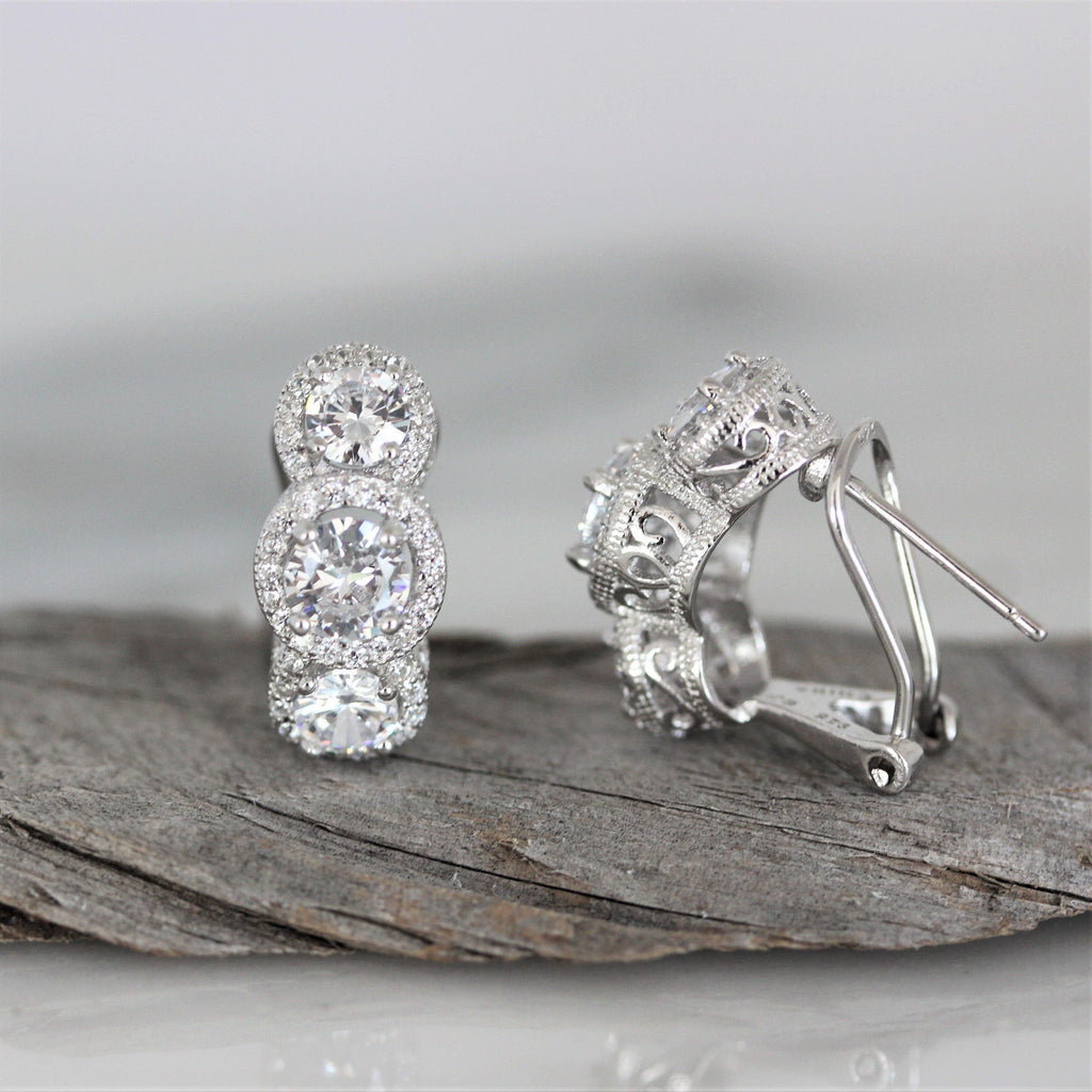 Sterling Silver 925 Bridal CZ Triple Halo Cluster Omega Back Earrings Deco Style