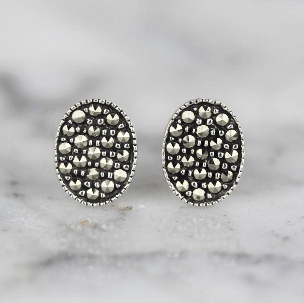 Sterling Silver Vintage Inspired Marcasite Oval Disc Stud Earrings GIGI DESIGNS