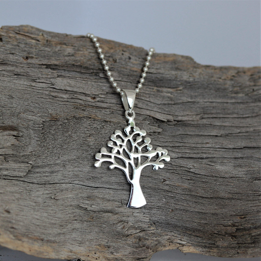 Genuine Sterling Silver 925 Tree of Life Pendant & 45cm Ball Chain Necklace