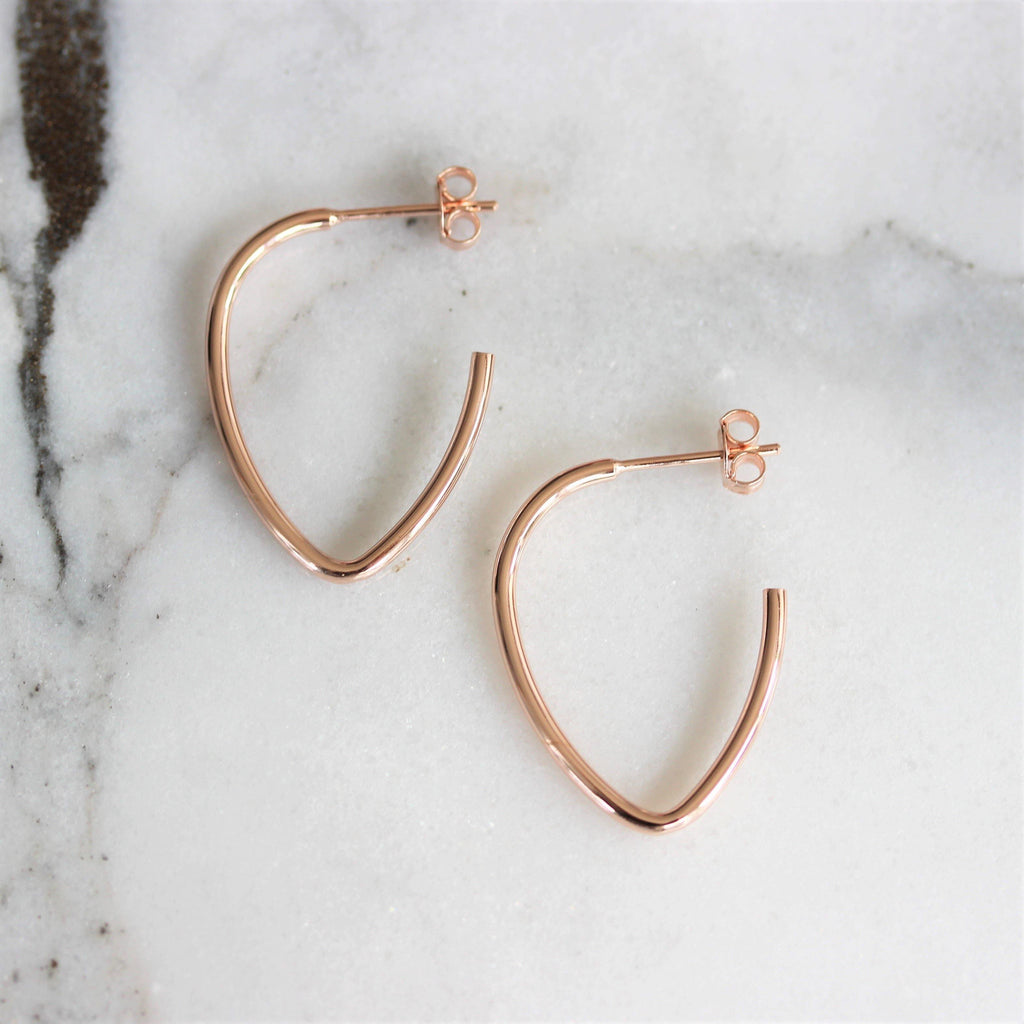 Sterling Silver 925 Rose Gold Plated Oblong Oval Open Hoop 28mm Drop Earrings