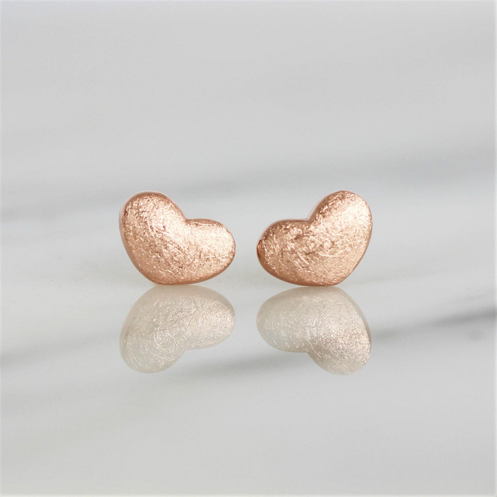 Sterling Silver Rose Gold Plated Brushed Matt Finish Small Heart Stud Earrings