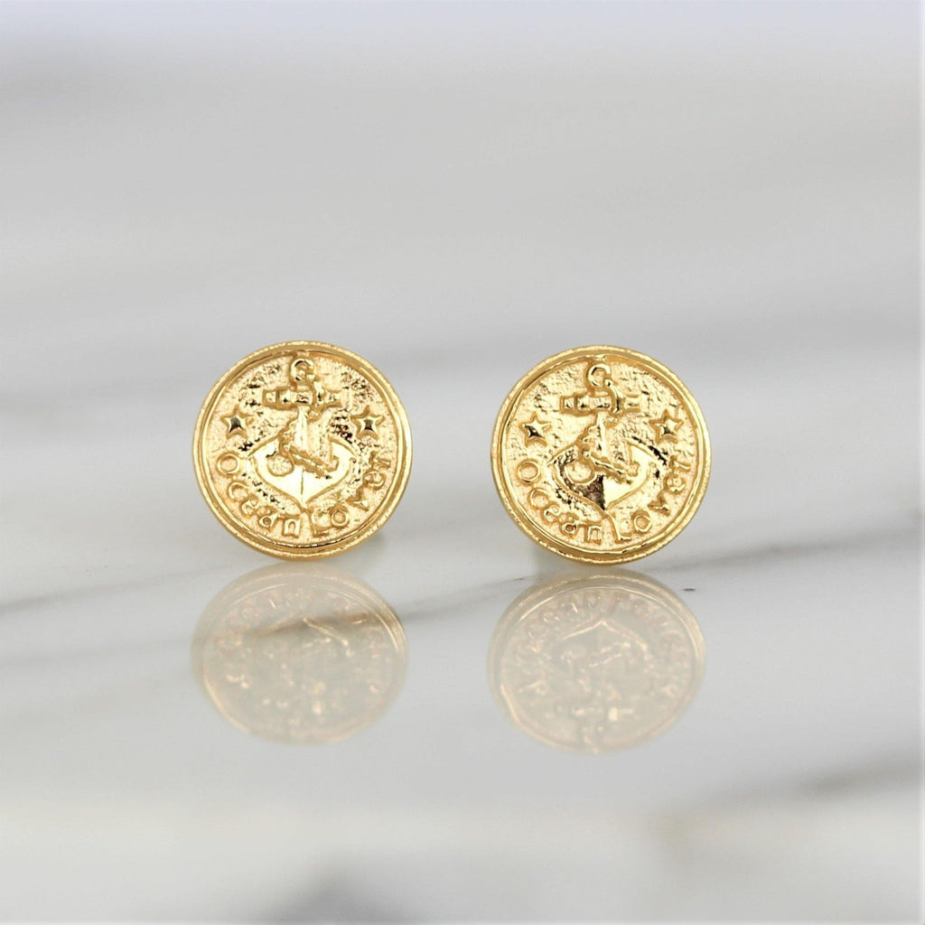 10mm Round Anchor Medallion Stud Earrings - Yellow Gold Plated Sterling Silver