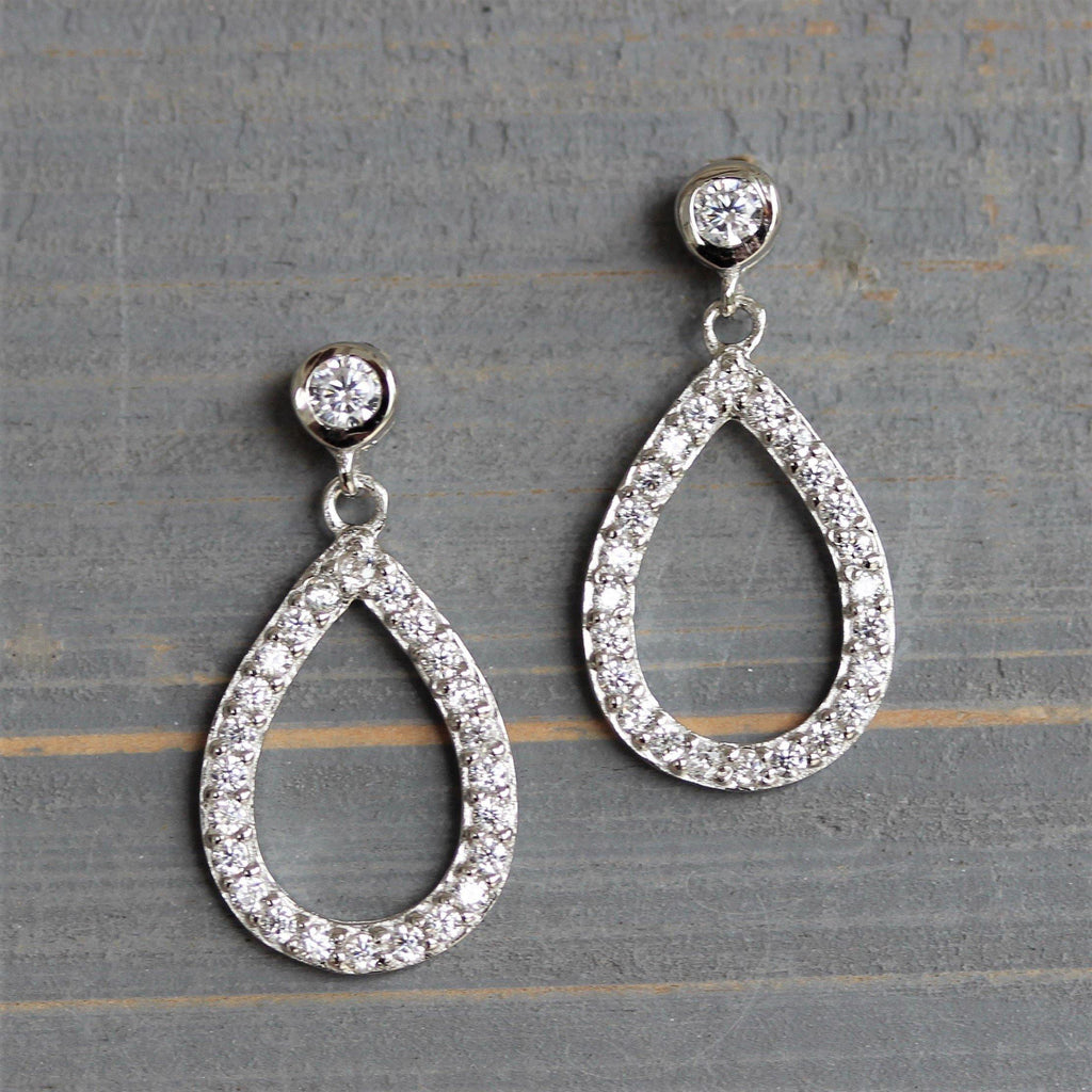 Genuine Sterling Silver 925 Small CZ TearDrop Pear Shape Drop Dangle Earrings
