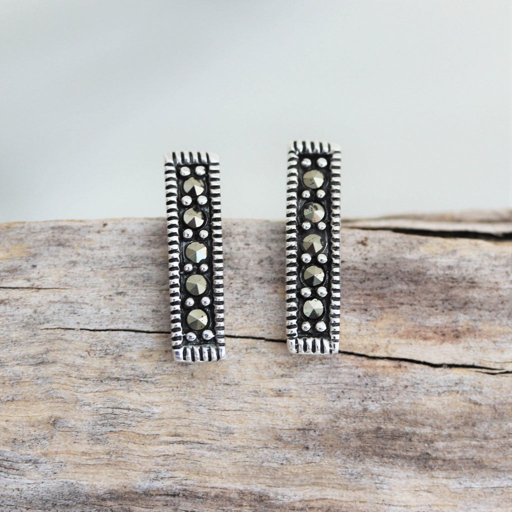 Genuine Sterling Silver 925 Marcasite Vintage Style Simple Bar Stud Earrings