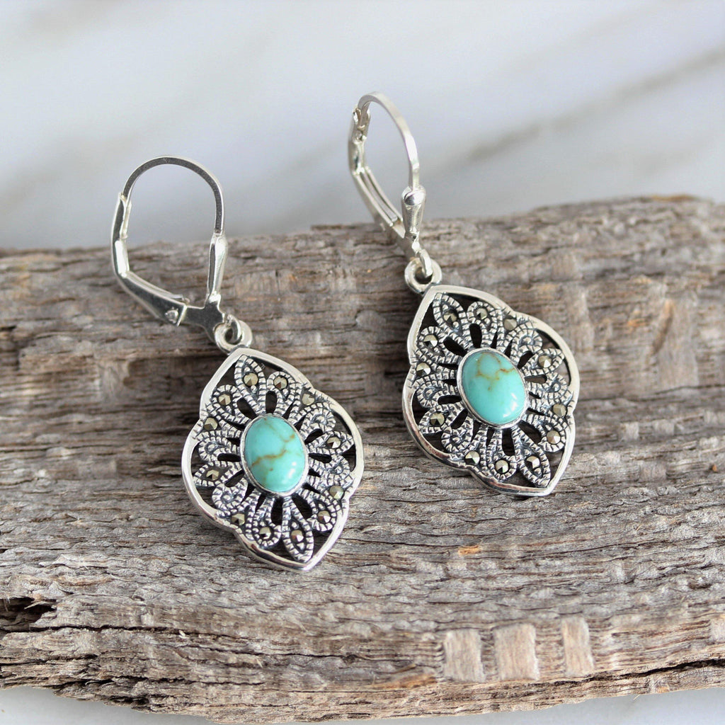 Sterling Silver 925 Marcasite & Oval Turquoise Leverback Drop Dangle Earrings