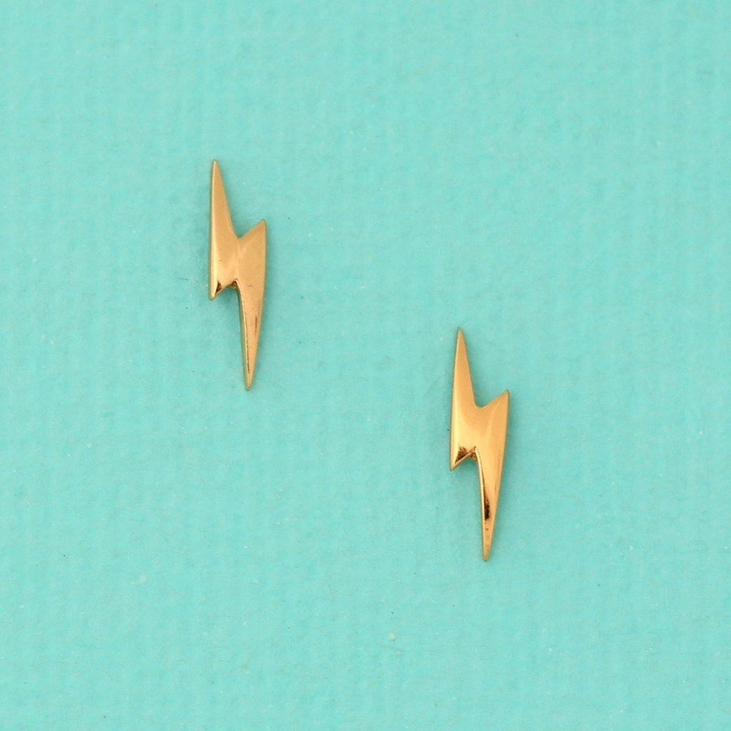 Sterling Silver 925 Yellow Gold Plated Small Lightning Bolt Strike Stud Earrings