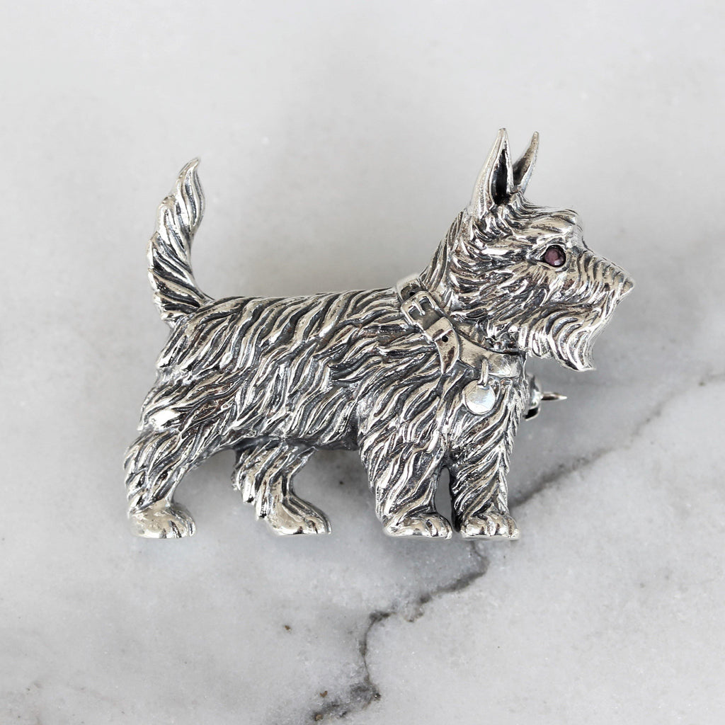 Genuine Sterling Silver 925 Cairn Scottish Terrier Westie Scotty Dog Brooch Pin