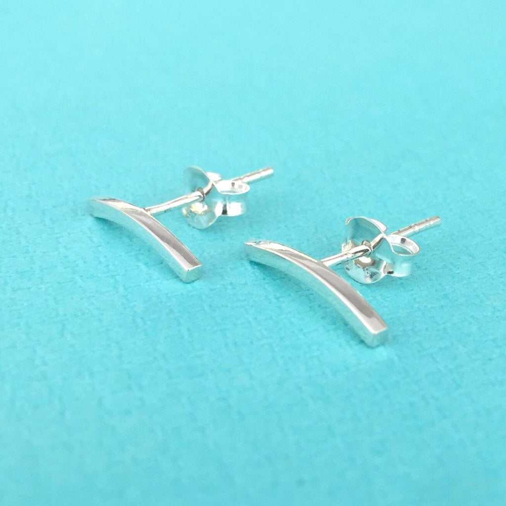 925 Genuine Sterling Silver 14mm Simple Curved Bar Stud Earrings