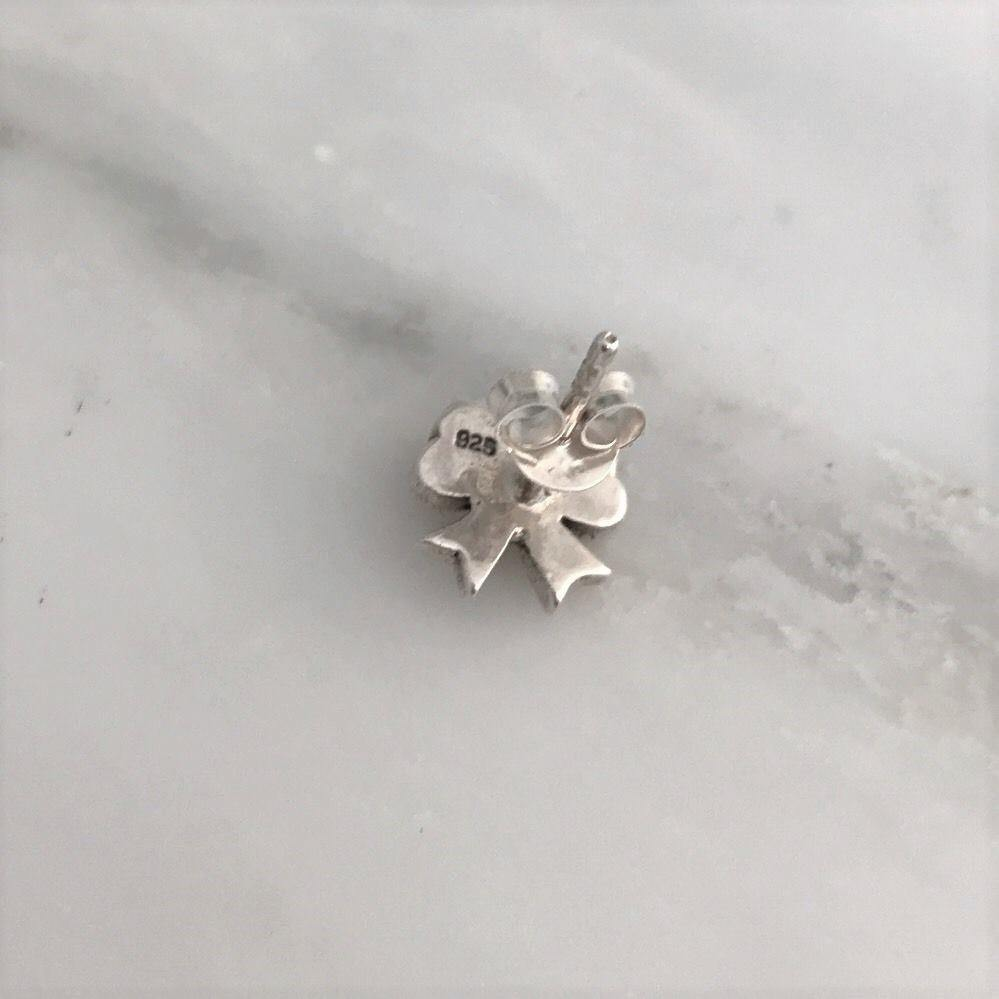 Genuine Sterling Silver 925 Bow Marcasite Vintage Style Small Bow Stud Earrings