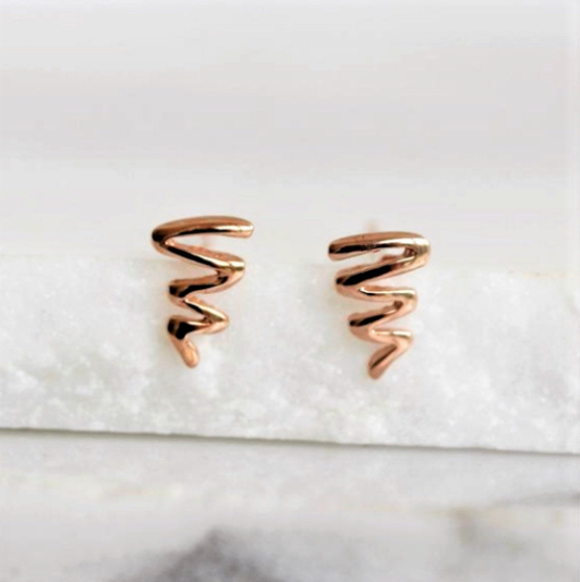 Sterling Silver 925 Rose Gold Plated Heartbeat Heart Beat Sqiggle Stud Earrings