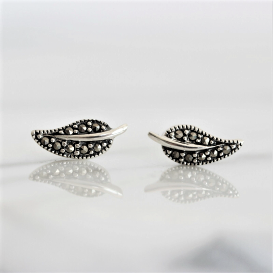 Sterling Silver 925 Small Feather Leaf Boho Style Marcasite Stud Earrings