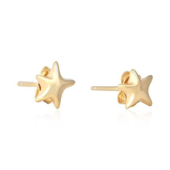Sterling Silver 925 Yellow Gold Plated Small 7mm Puffy Star Stud Earrings