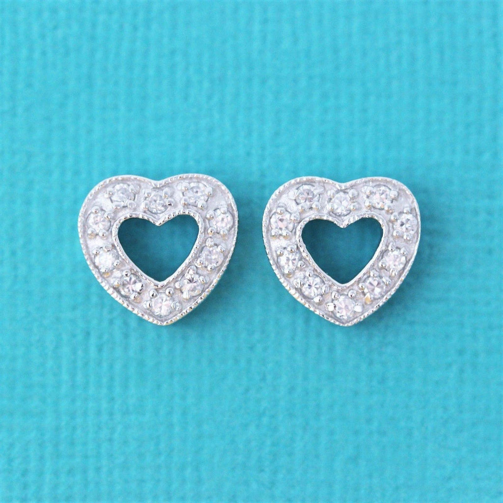 Genuine Sterling Silver 925 CZ Pave Set Cut Out Large Heart Stud Post Earrings