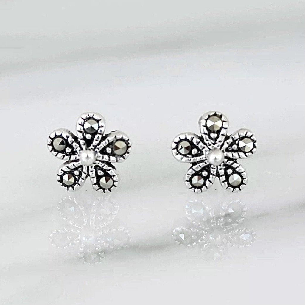 Genuine Sterling Silver 925 Marcasite Vintage Style 6mm Flower Stud Earrings