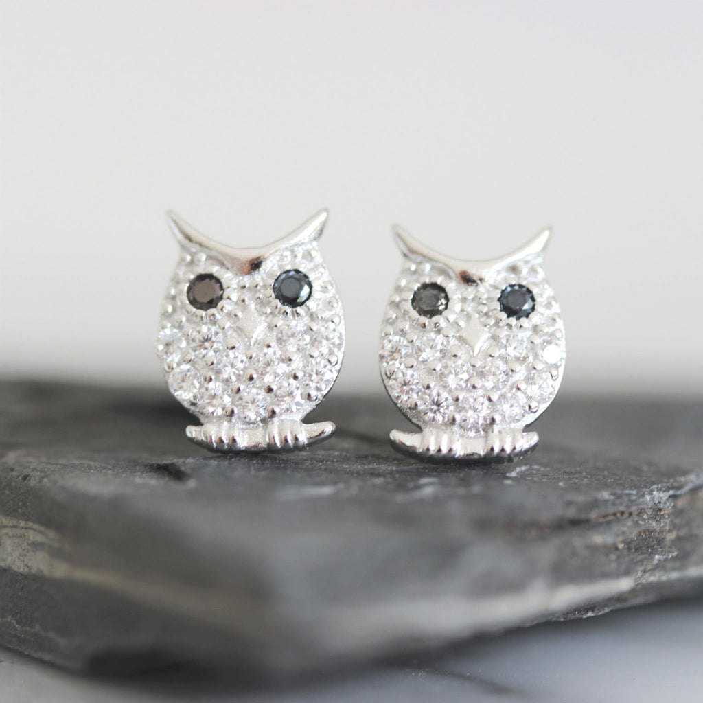 Sterling Silver 925 Pave Set CZ 11 x 9mm Bird Owl Stud Earrings Black & White