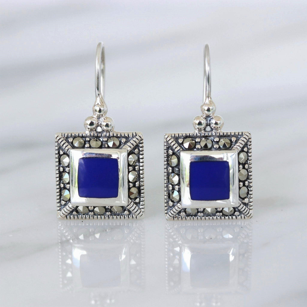 Sterling Silver 925 Marcasite & Blue Lapis Square Shape Leverback Drop Earrings