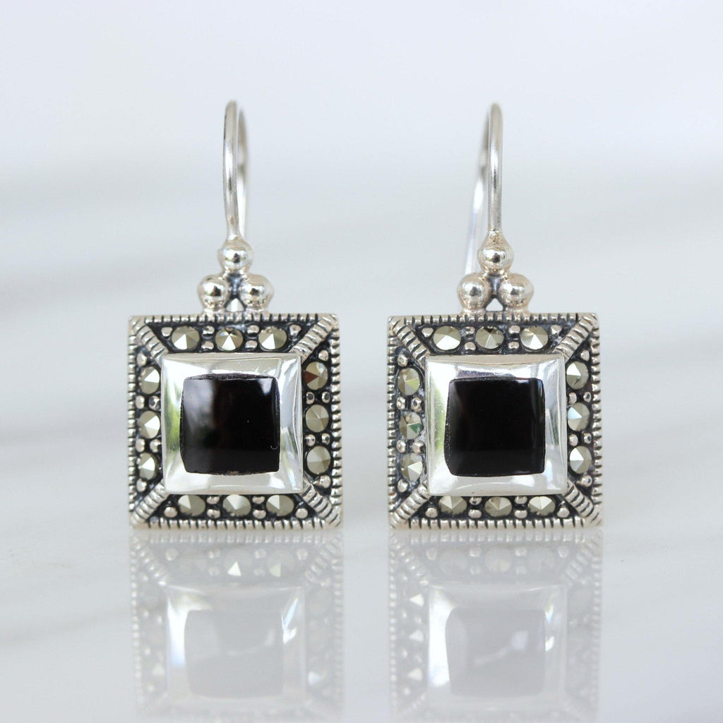 Sterling Silver 925 Marcasite & Black Onyx Square Shape Leverback Drop Earrings