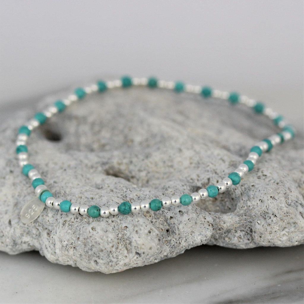 Sterling Silver 925 Small Silver Bead Balls & Turquoise Stretch Bracelet 17.5cm