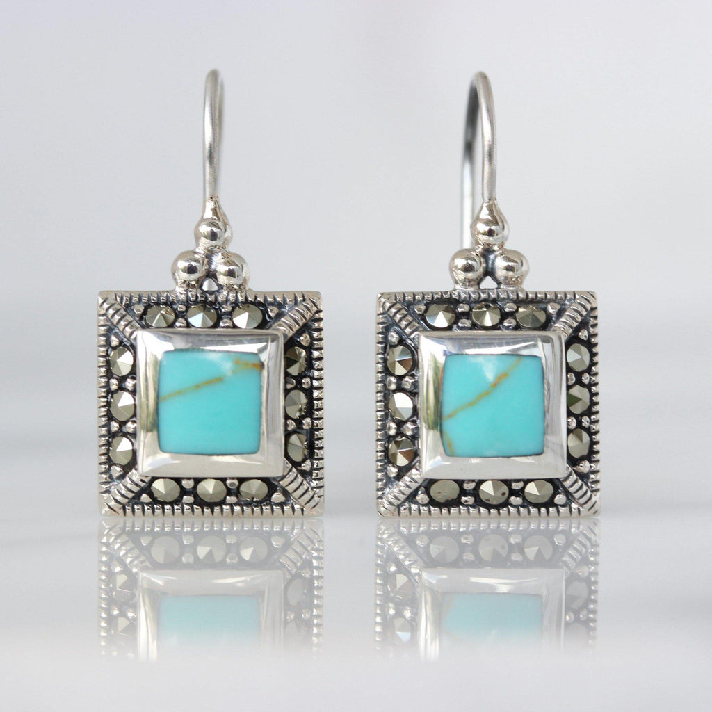 Genuine Sterling Silver 925 Marcasite & Turquoise Square Leverback Drop Earrings