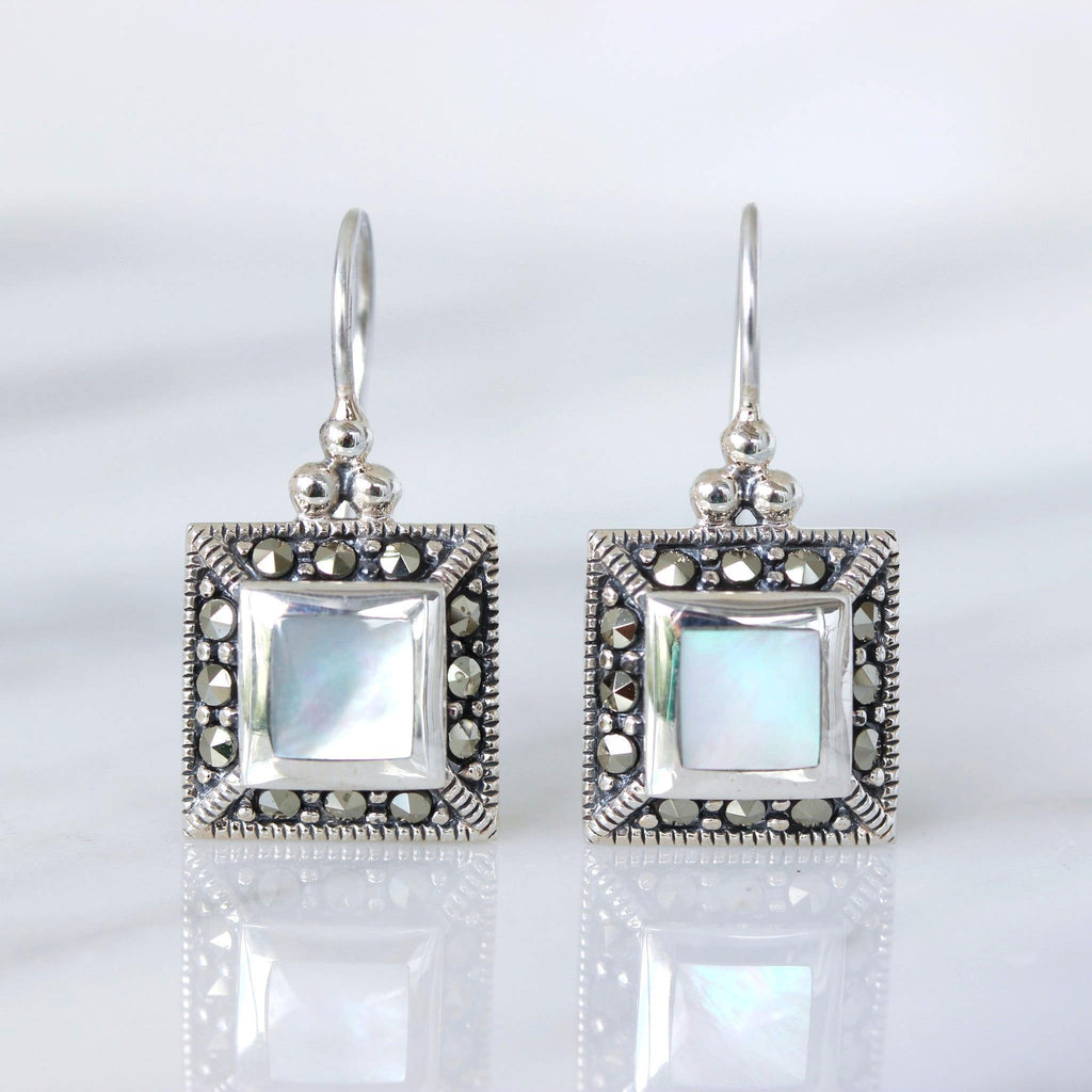 Genuine Sterling Silver Marcasite & Mother of Pearl Vintage Style Drop Earrings
