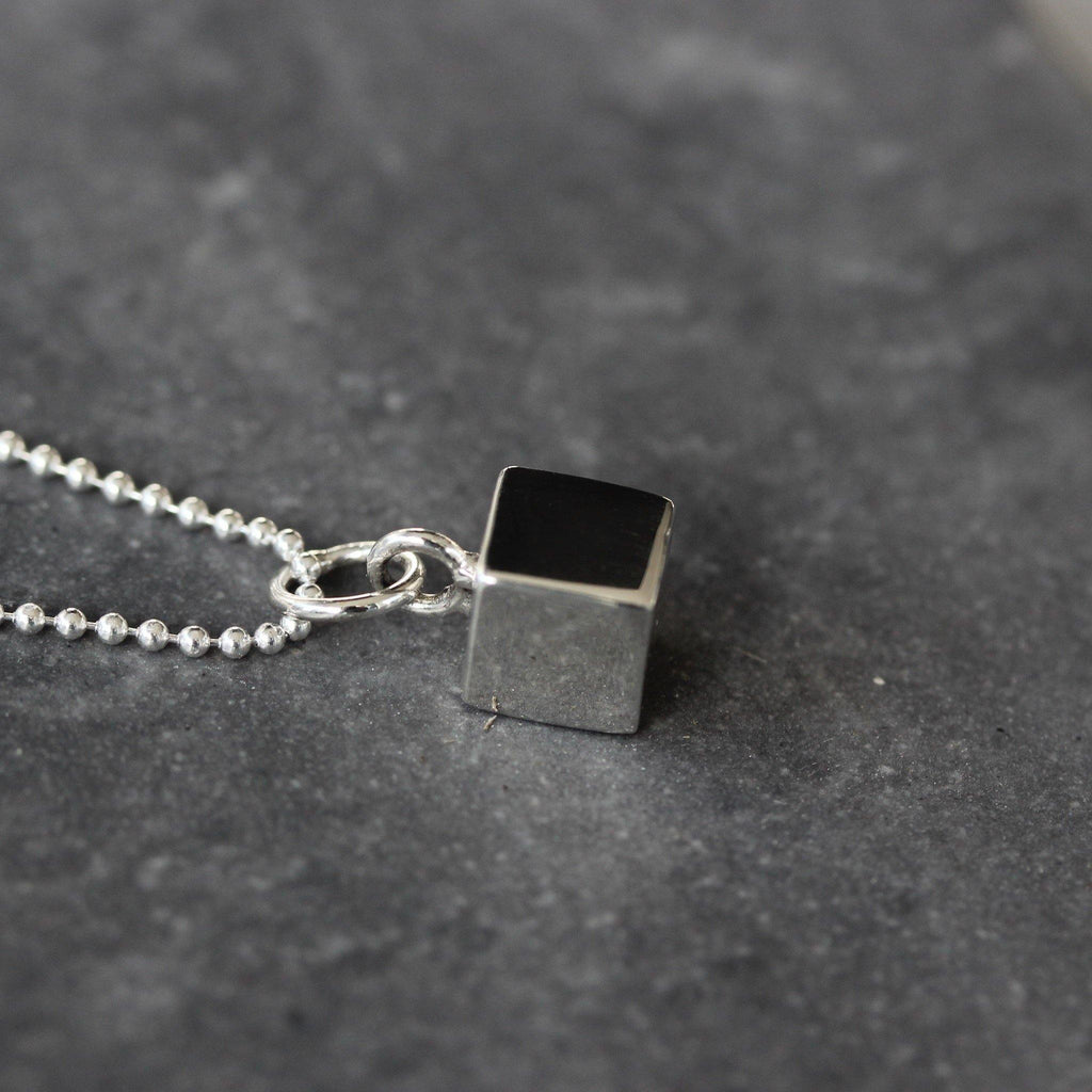 Genuine Sterling Silver 925 Solid Cube Pendant & 45cm Ball Chain Necklace Modern