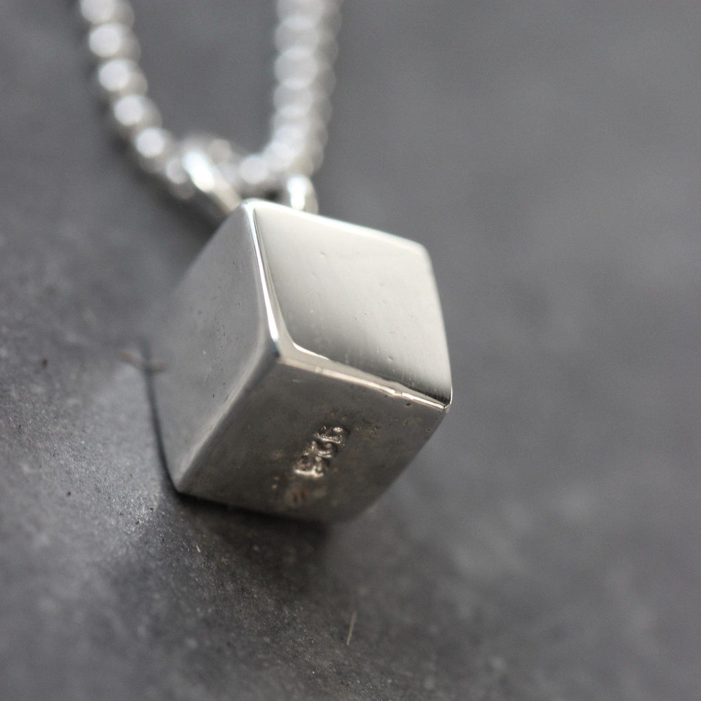 Genuine Sterling Silver 925 Solid Cube Pendant & 40cm Ball Chain Necklace Modern