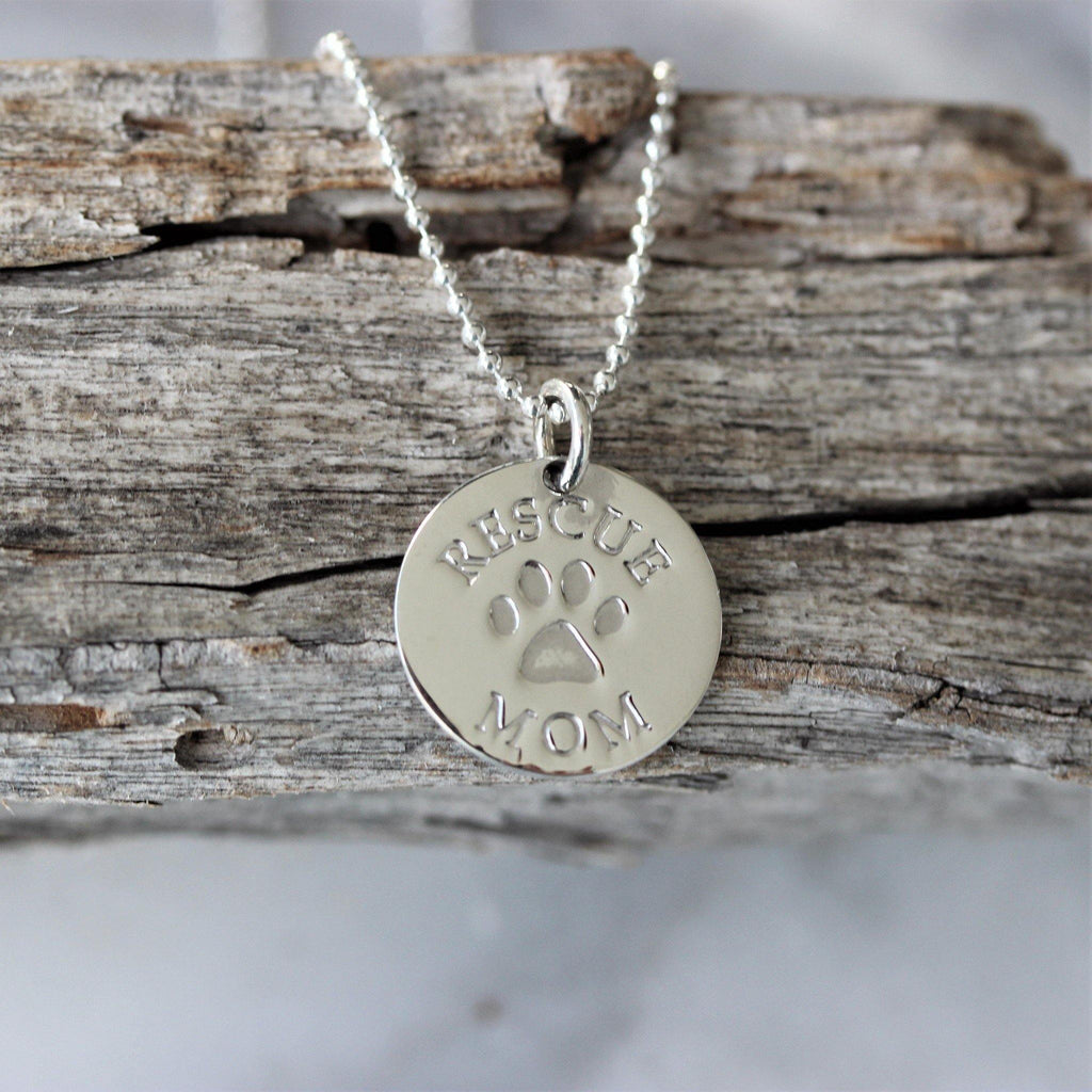 Sterling Silver 15mm Round Engraved RESCUE MOM Disc Pendant & 45cm Necklace