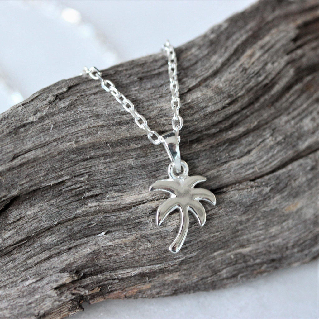 Genuine Sterling Silver 925 Palm Tree Pendant Necklace 45cm Italian Made Chain