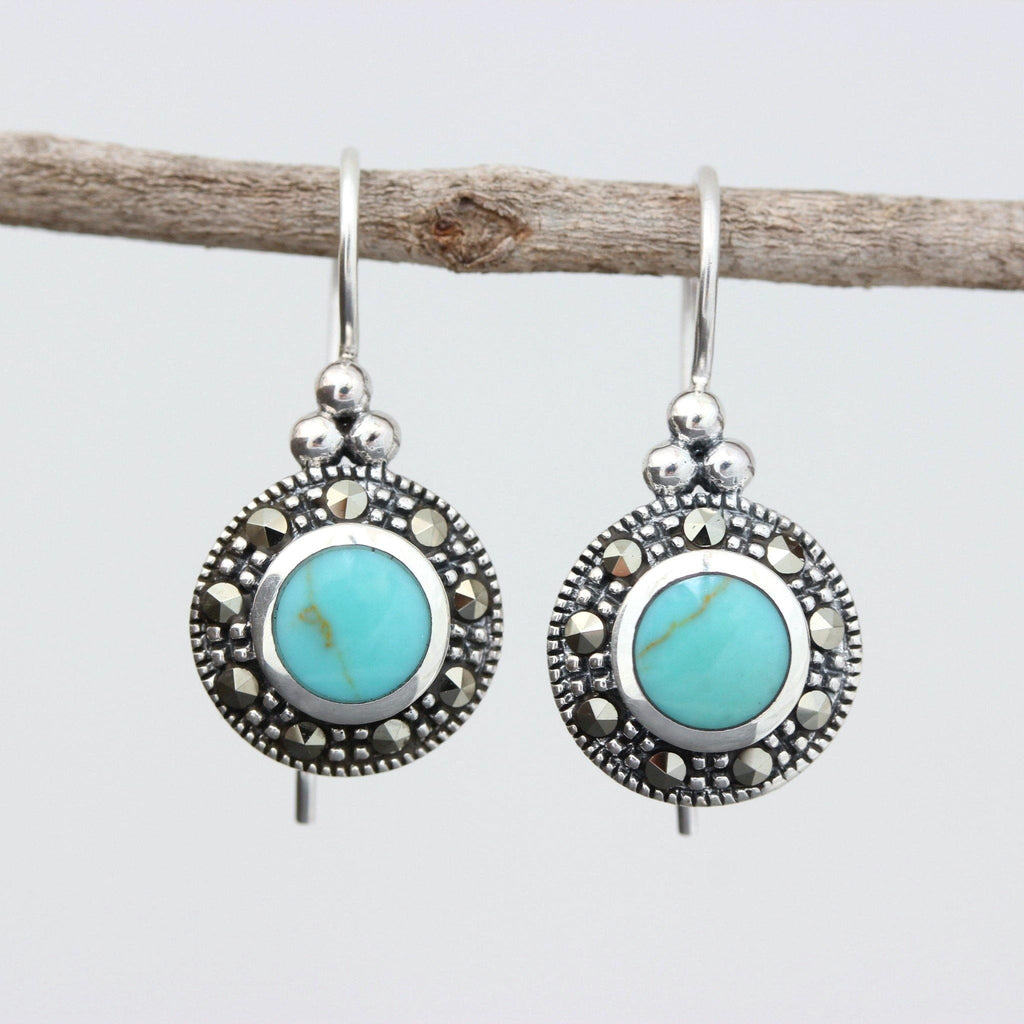 Genuine Sterling Silver 925 Marcasite & Turquoise French Hook Drop Earrings