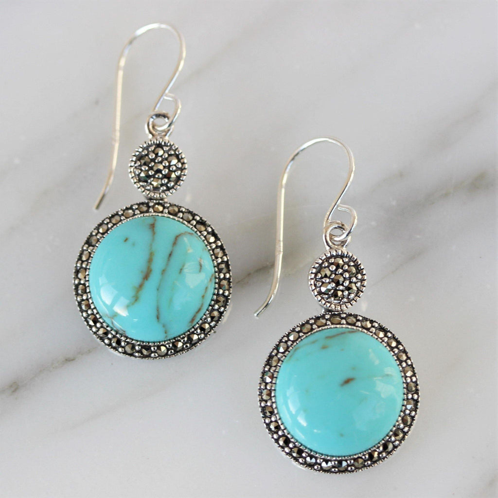 Sterling Silver 925 Vintage Style 16mm Marcasite & Turquoise Hook Drop Earrings