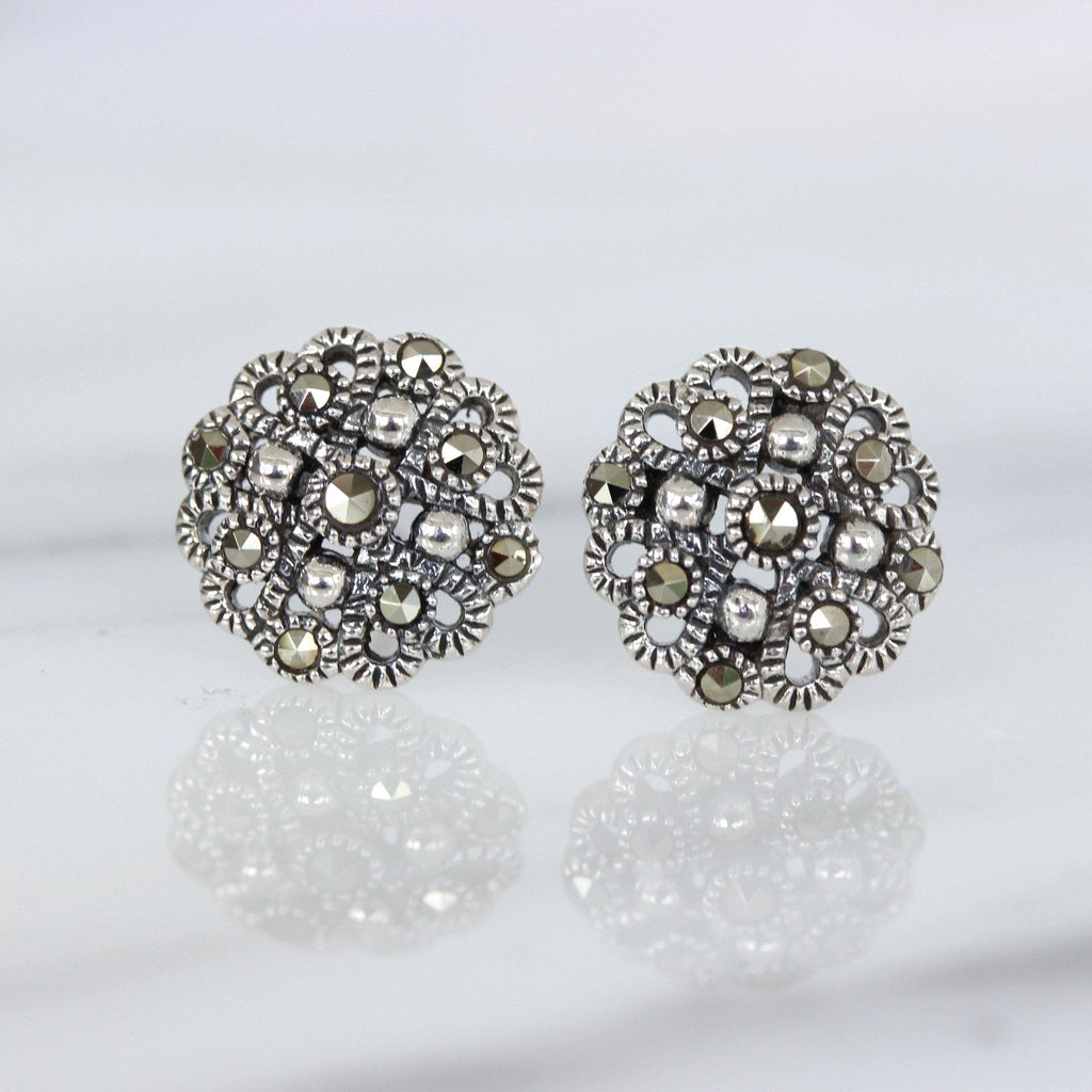 Genuine Sterling Silver 925 Marcasite Vintage Inspired 10mm Stud Earrings