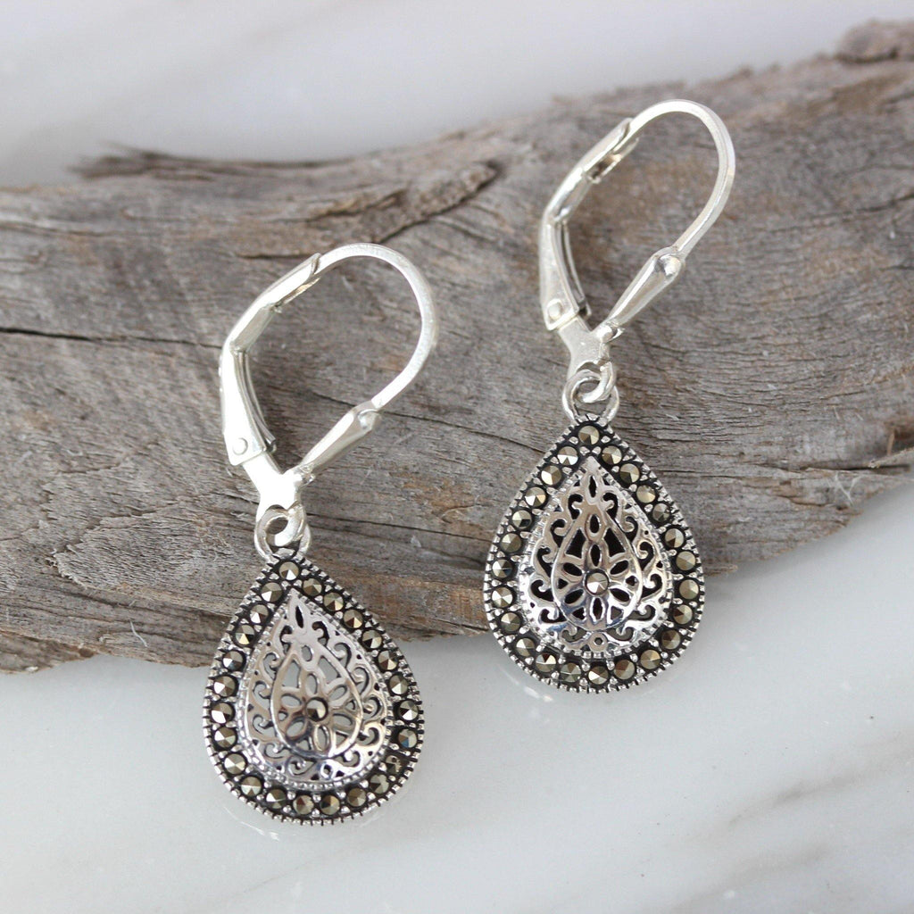 Sterling Silver 925 Marcasite Teardrop Leverback Vintage Style Drop Earrings