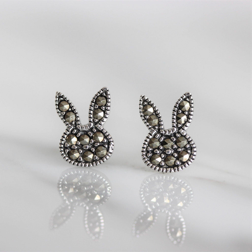 Sterling Silver 925 Marcasite Vintage Style Bunny Rabbit Ears Stud Earrings