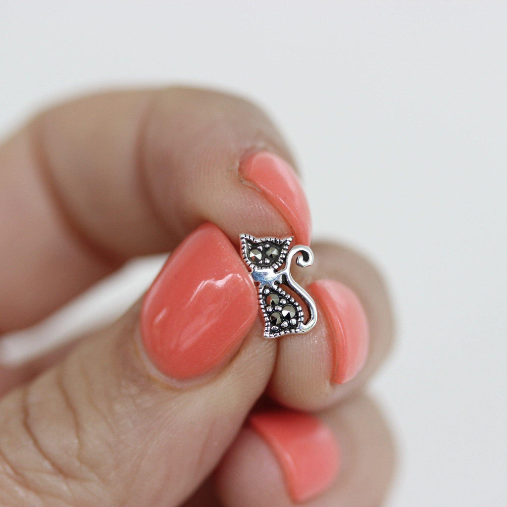 Genuine Sterling Silver 925 Marcasite Cat Kitten Stud Earrings Vintage Style